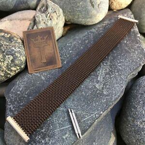 22mm-20mm-19mm-Evinger-USA-Brown-amp-Gold-ep-Expansion-Mesh-70s-Vintage-Watch-Band