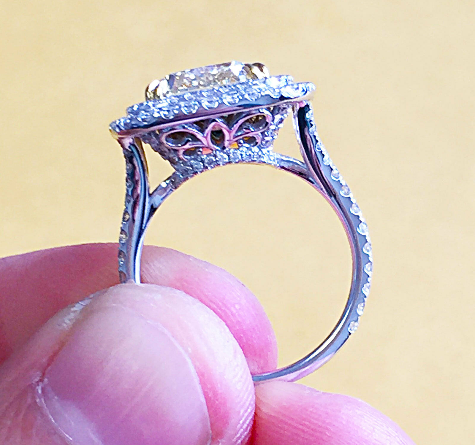 6.00 CARATS 14K SOLID WHITE gold CUSHION SIMULATED DIAMOND ENGAGEMENT RING HALO