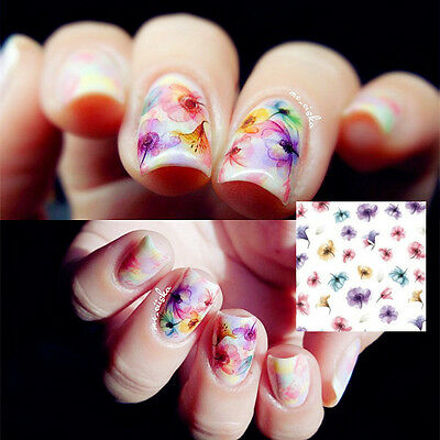 1 Sheet Beautiful Chinese Ink Flower Nail Art Sticker Water Transfer Decals DIY