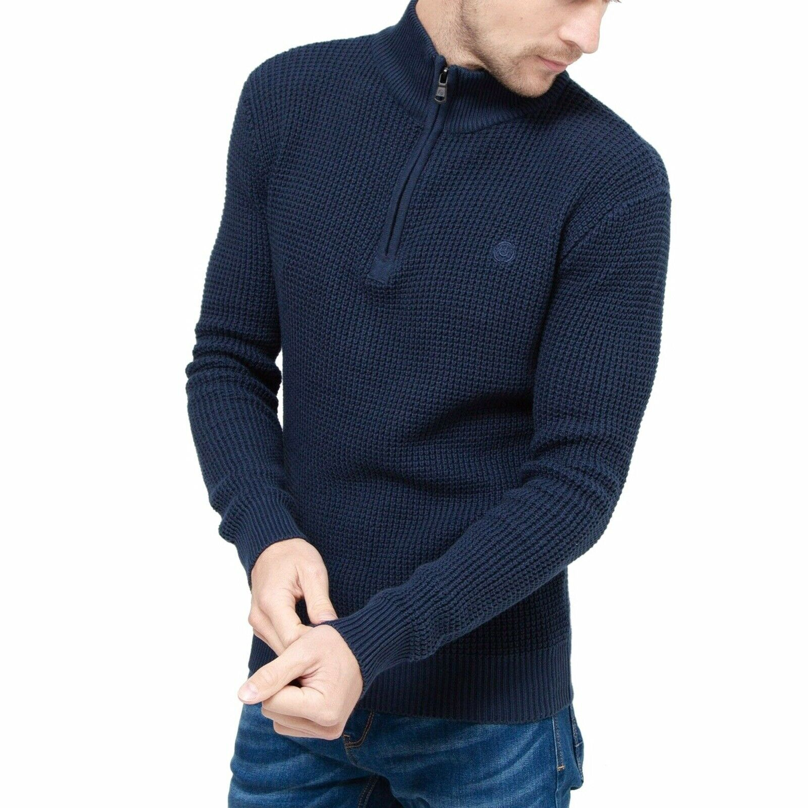 Duck And Cover Firegards Navy Quarter Zip Knitwear New Size Small