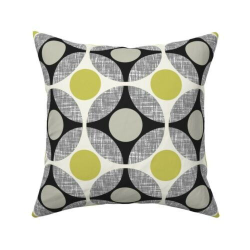Chartreuse Circles Weave Throw Pillow Cover w Optional Insert by Roostery
