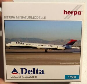Herpa-McDonnell-Douglas-MD-90-Delta-Air-Lines-1-500-NEW-Model-Sullys-Hobbies