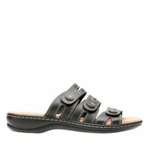 5a8f0584f867 NEW CLARKS WOMENS LEISA LAKIA BLACK MEDIUM WIDE WIDTH LEATHER SLIDE ...