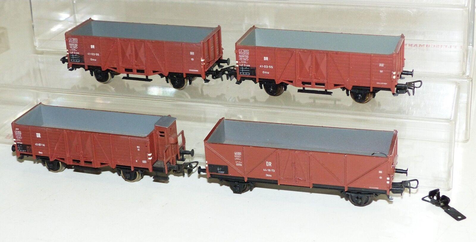 4x Piko Hochbordwagen DR  41-87-14 Bremserhaus, 44-18-73, 2x 41-03-55 H0