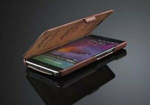GENUINE-LEATHER-FLIP-CASE-COVER-FOR-SAMSUNG-GALAXY-NOTE-4-IV-FREE-SCREEN-GUARD