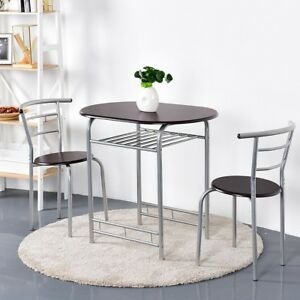 fc02021f2 Costway 3 Piece Dining Set Table 2 Chairs Bistro Pub Home Kitchen ...