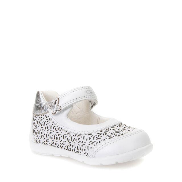 Geox bimba ballerine bianche B7251E scarpe in pelle estate 2017