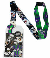 Dc Comics The Joker Comic Logo Lanyard W/ Sticker Id Badge Holder & Charm