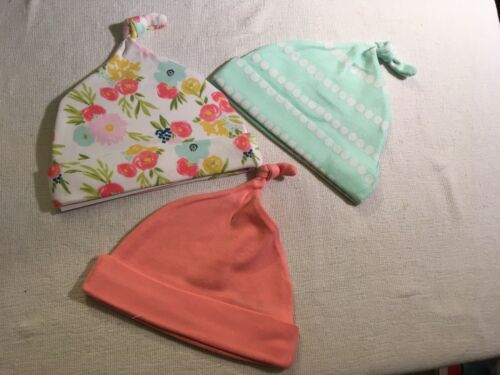 New 3 Pack CLOUD ISLAND-Baby Hats Beanies-OSFM Girl-Pink-Mint-Flower-EB78