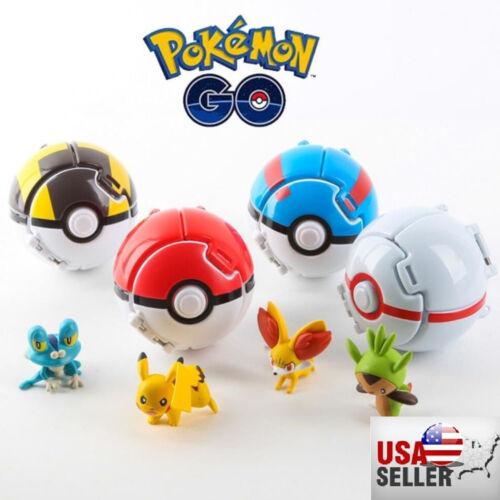 New 4 x Pokemon Throw Pop PokeBall Cosplay Pop-up Elf Go Fighting Poke Ball Toy