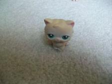 Littlest Pet Shop ❀#129 Light Brown Or Tan Persian Kitty Cat Kitten With Green