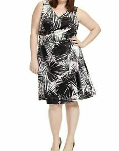 London-Times-Sleeveless-Sateen-Palm-Shadow-Fit-And-Flare-Dress-Plus-Size-22W