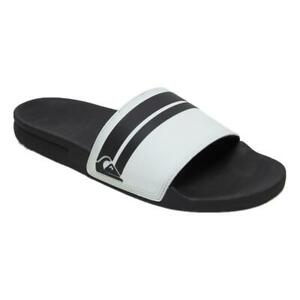Quiksilver-NEW-Men-039-s-Rivi-Slide-Flip-Flops-White-Black-white-BNWT