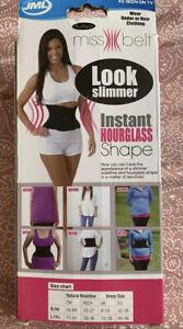 2 X JML Miss Slimming Belt Black Size:S/M Uk 6-10 Shapewear Hourglass  WAIST New
