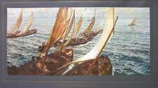ITALIAN FISHERMEN Leaving for Sea Sailboats  - COLOR Antique Print
