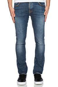 Nudie-Herren-Slim-Fit-Used-Look-Stretch-Jeans-Hose-Grim-Tim-Foggy-Dust