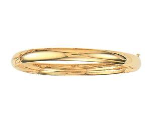 5mm-All-Shiny-Plain-Comfort-Fit-Bangle-Bracelet-Real-10K-Yellow-Gold-7-034