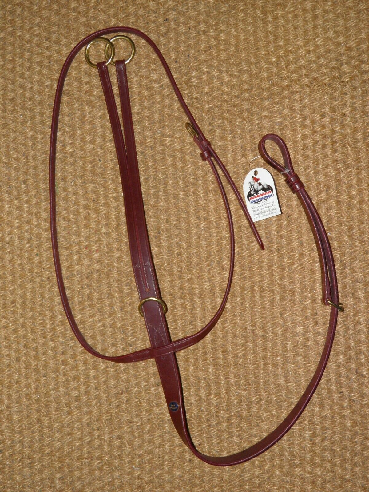 John Whitaker Burgundy Pony Laufen Martingale With Brass Buckles