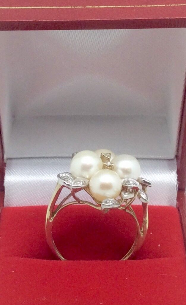 9ct gold Pearl & Diamonds cluster ring size N
