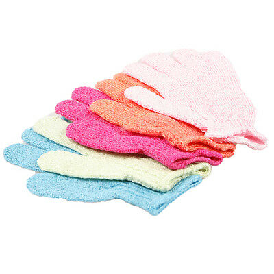 2 x Exfoliating Glove Skin Body Bath Shower Loofah Sponge Mitt Scrub Massage Spa