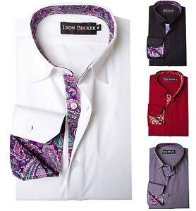 Para-hombres-estilo-italiano-Camisa-Informal-Slim-Fit-Formal-Vestido-Manga-Larga-PS15