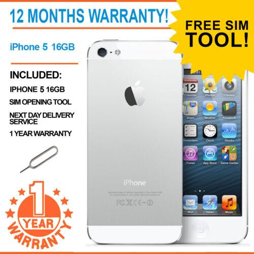 1 of 1 - Apple iPhone 5 - 16 GB - White & Silver EE Orange T-Mobile Virgin Smartphone