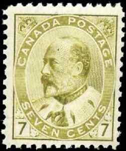 Canada-92-mint-F-VF-OG-NH-1903-King-Edward-VII-7c-olive-bistre-Pristine