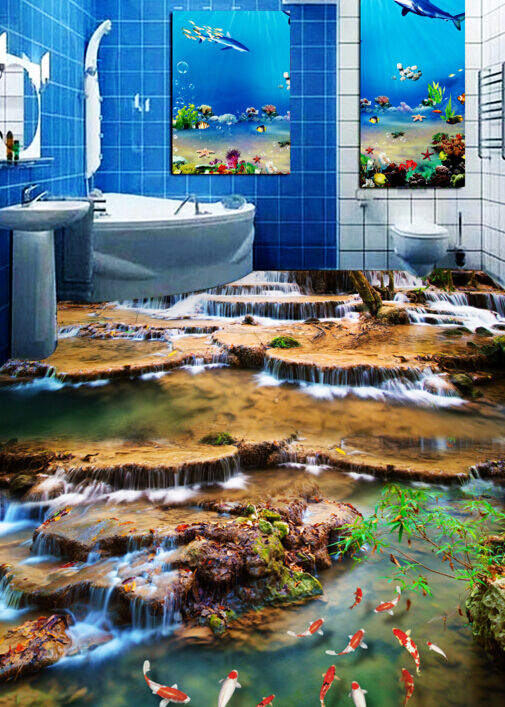 3D Stream Stone goldfish Floor WallPaper Murals Wall Print Decal 5D AJ WALLPAPER
