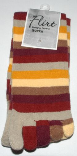 Ladies Girls Color striped five finger Toe Socks Striped One Size Fit All A002.5