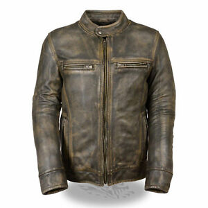 Jacket Cafe Distressed Zu Details Leather Vintage Stitch Brown Biker Triple Men's Racer 6mvI7gYybf