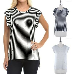 62211a3be1e586 Striped Round Neck Short Sleeve High Low Hem Top with Cut Out Front ...