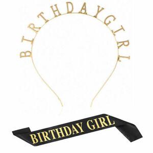 Birthday Headpiece Girl Tiara Headband Birthday Satin Sash for Party Decorations