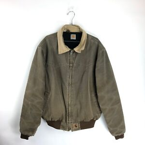 Canvas Santa Fe >> Details About Carhartt J14 Quilted Lined Duck Canvas Santa Fe Western Work Jacket Coat Size Xl