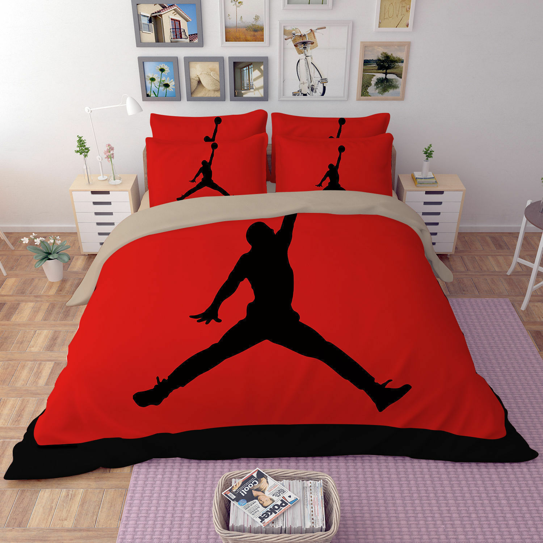NBA Sports Basketball Red Bedding Set Quilt Duvet Doona Cover Pillowcases 3PCS