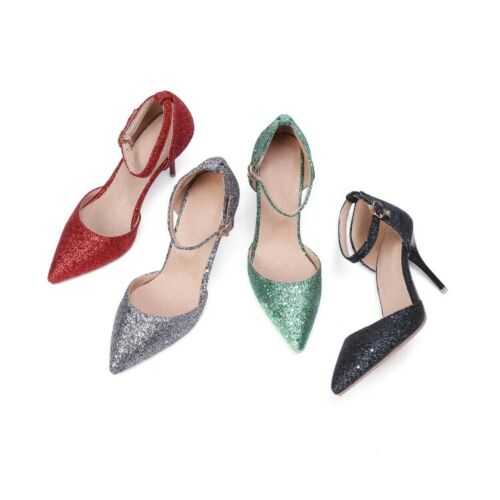 Womens Glitter Pointy Toe Ankle Buckle Pumps Dating Party 7.5 High Heels Pumps