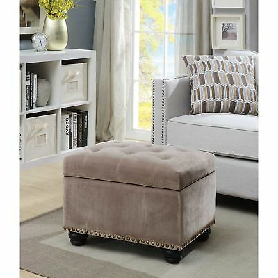 Superb Plush Taupe Velvet Tufted Storage Ottoman Footstool Seat Nailhead Accents Glam 704108689517 Ebay Bralicious Painted Fabric Chair Ideas Braliciousco