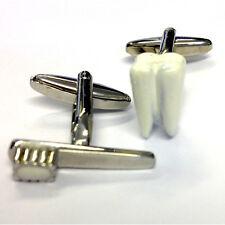 TOOTHBRUSH & TOOTH CUFFLINKS Dentist Orthodontist Dental Technician GIFT BOX