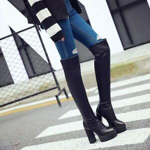 Ladies-Combat-Over-The-Knee-Thigh-Boots-Block-High-Heels-Buckle-Leather-Shoes