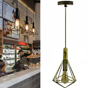 Vintage-Industrial-Metal-Cage-Ceiling-Pendant-Light-Lamp-Shade-Filament-Bulb