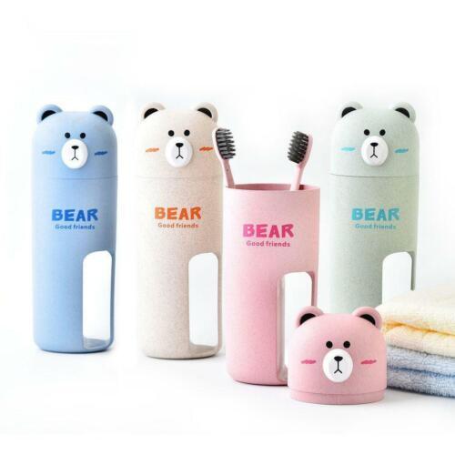 Cartoon Bear Toothbrush Case With Toothbrush Portable Traveling Organizer Cup GA