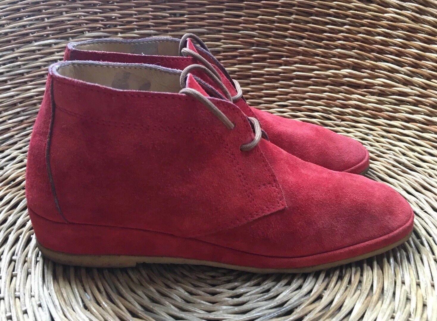 A Jones & Sons Women's Red Suede Hi-Top Desert Ankle Boots B VGC