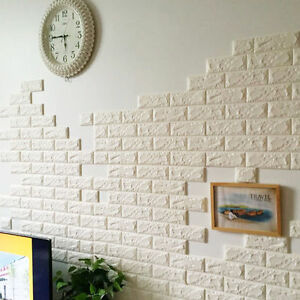 Image Is Loading White Foam Stone Brick Self Adhesive Wallpaper