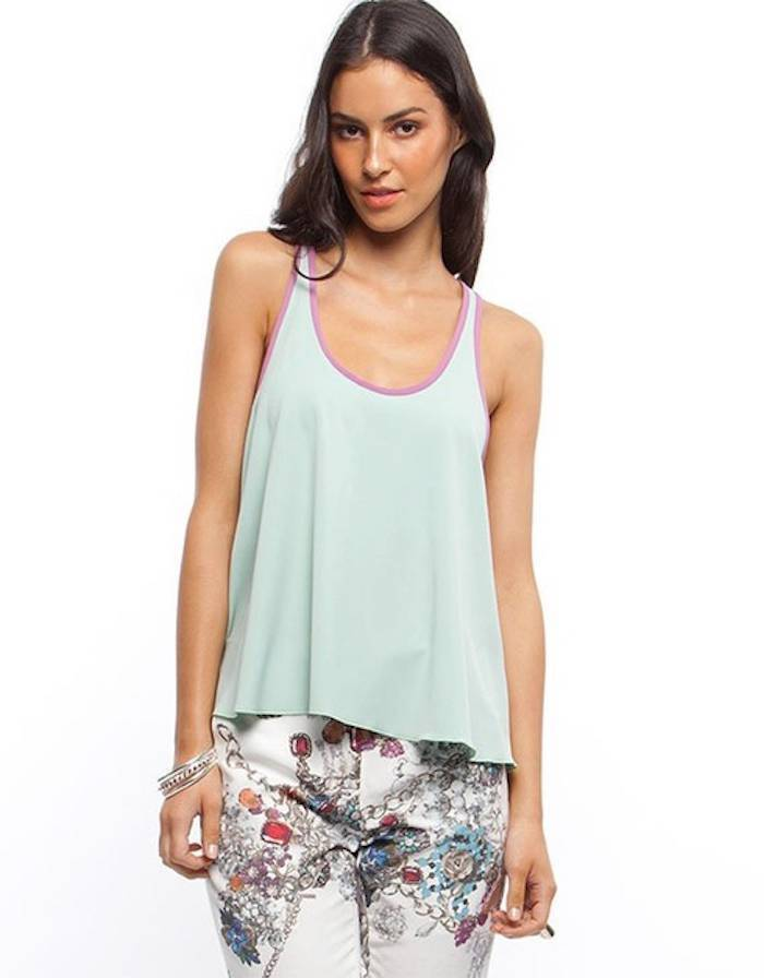 Camilla and Marc Josephina Top Mint Lilac Tank round neck contrast trim sleevele