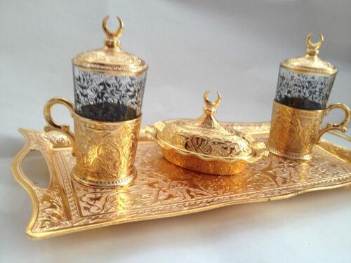 Thé turc & water set, laiton & cuivre et porcelaine & verre, palais ottoman tulipes