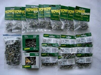 Pack of 100 x 2.5mm Twin /& Earth Clips BADGED FOR HOMEBASE BY TOWER /& G.E.T.