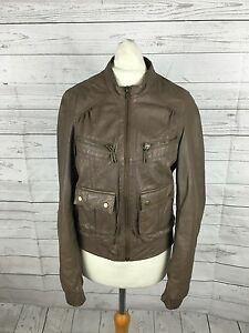 Women-039-s-Warehouse-Leather-Bomber-Jacket-UK10-Brown-Great-Condition