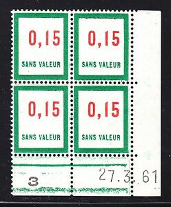 FRANCE-TIMBRE-FICTIF-F142-MNH-coin-date-27-3-61-TB