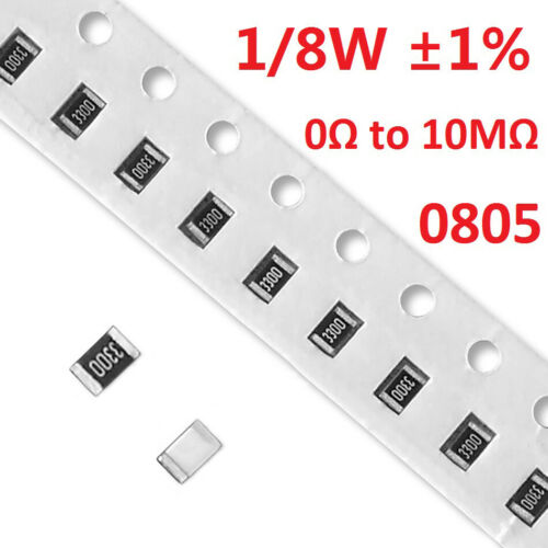 Full Range of Values 0Ω to 10MΩ 0805 SMD//Chip Resistors 1//8W Tolerance ±1/%