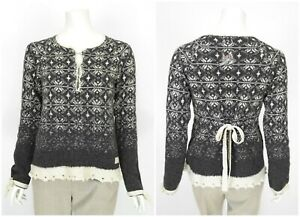 Womens-Odd-Molly-421-Jumper-Sweater-Knit-Grey-Lambswool-Cotton-Size-2-M