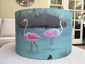 Details about Handmade Lampshade Pink Flamingo Aqua Blue Fabric, Tropical,  Exotic Birds SALE
